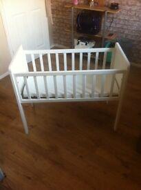 White crib with mattress