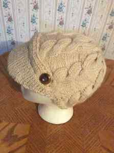 HAND KNIT LADIES HAT WITH PEAK