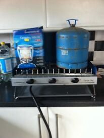 Camping gas cooker with grill and light and gas bottle