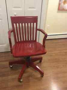Red solid wood computer chair