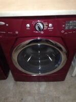 Red whirlpool duet washer and dryer