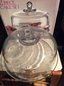 BRAND NEW CANFIELD 2-PIECE CAKE SET/ARCOROC 7PC GLASS CAKE SET