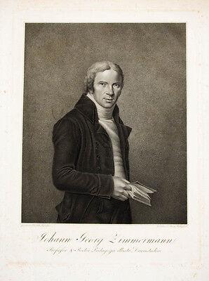 c1800 Darmstadt Giessen Zimmermann Johann Georg Kupferstich-Porträt Felsing Hill