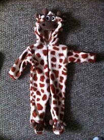 3-6 months baby giraffe fleece onesie