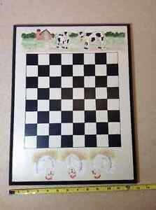 Vintage 1995 hand painted Cows vs Chickens checkers/chess wood