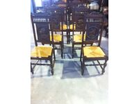 A set of six French Breton dining chairs
