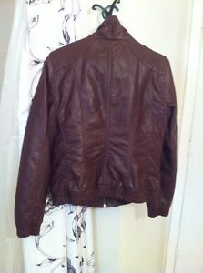 Faux brown leather quilted bomber jacket-GARAGE Kingston Kingston Area image 2