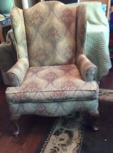 WING BACK CHAIR GREEN TONES