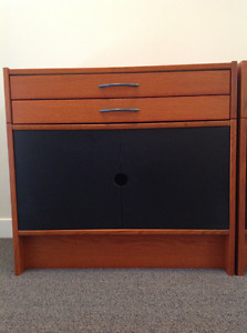 Funky cabinet/TV stand w/ 2 drawers and doors, mint. $79