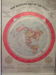 "Giant  60x37"" Gleason's  FLATEARTH map of the Earth!"