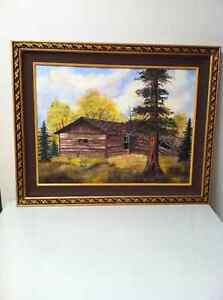 Cabin oil painting