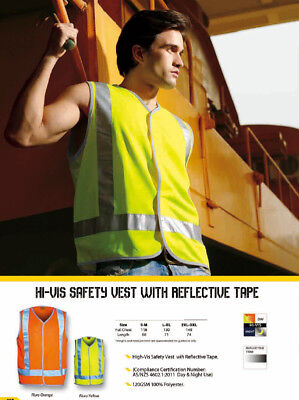 Hi-Vis Safety Vest With Reflective Tape Workwear Protective Gear Day & Night Use