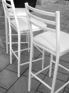Set of Three White Bar Stools
