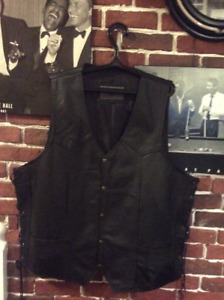 NEW BLACK LEATHER VEST