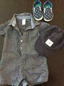 Carters boys romper, cap and soft shoes