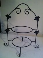 Wrought Iron Black plate stand