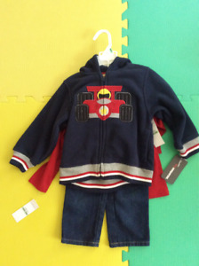 New with tags 18 months three-piece set, jeans, hoodie, shirt
