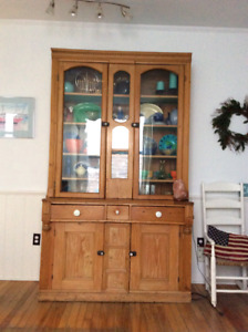 Gorgeous Antique Pine Display Cabinet