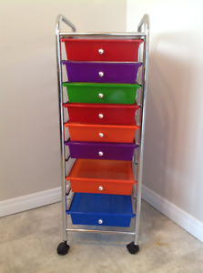 Multi-coloured 8 Drawer Cart - Chest of drawers