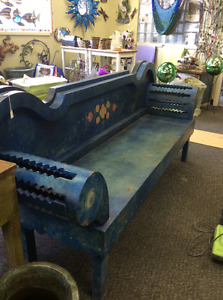 Unique handcrafted, hand painted solid pine bench