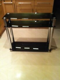 Black glass TV and stereo stand
