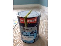 New unopened Johnstones 5 litre tin - Blue Reflection