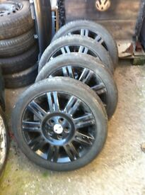 """17"""" 5x108 pcd alloy wheels fit fords etc transit connect all used but good condition two good tyres"""