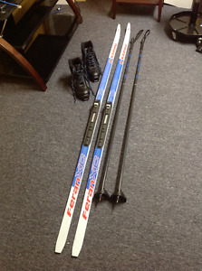 Cross Country Skis, Poles, Size 9 Boots