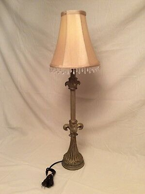 Narrow / Skinny Mid Century Modern Table Lamp 36 Inch Height Beaded Shade for sale  Shipping to Canada