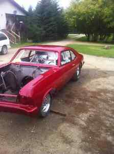 1970 nova drag car for sale, with custom built enclosed trailer
