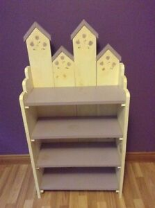Handmade matching solid pine bookcase and shelf