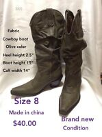 Size 8 olive green fabric cowboy boot