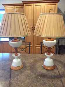 Milk glass lamps and shades