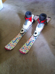 3 pairs of ski and ski boots for kids