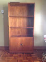 Wood bookshelf with lower storage cabinet  ( heavy and sturdy )