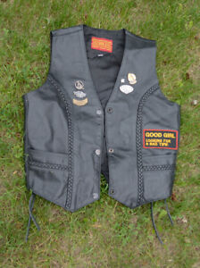 Women's Leather Harley Vest - small