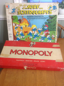 Vintage monopoly and the smurfs board games