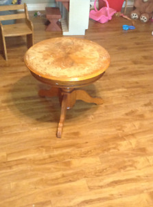 Solid wood round end table