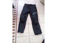 Alpinestars woman's leather bike jeans