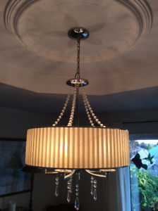 Bright Nickel 5 light Chandelier For Sale