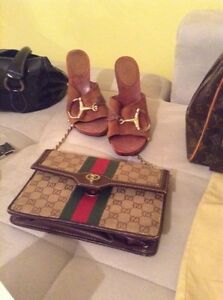 Authentic Gucci purse with gold chain and Gucci sandals