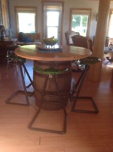 Barrel table and John Deere stools