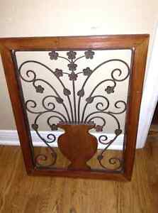 Wood and metal framed decorator piece for sale