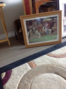 The hustler picture of dogs playing pool