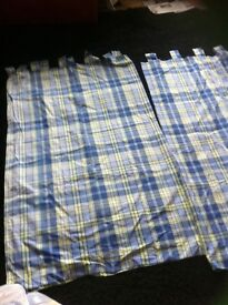 Boys tab Curtains check blues & yellows