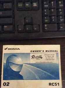 2002 RC51 Owner's Manual For Sale