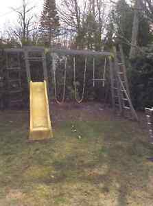 Swing set - wood with slide (compare to $500-700 brand new)