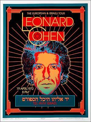 Leonard Cohen Poster Tel Aviv Israel 1972 New Artist's Edition SN 100 David Byrd