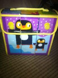 Animal blocks with book