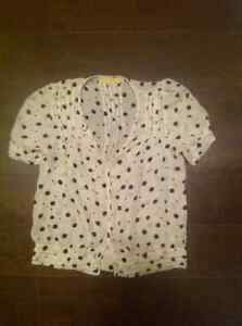 Urban Outfitters White Button-up Blouse with Black Polka Dots